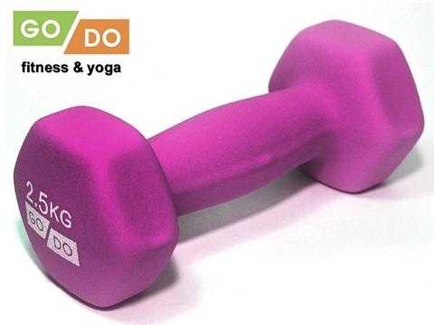 Гантель GO DO в виниловой матовой (неопреновой) оболочке.  Вес 2,5 кг. (Фиолетовый), шт (Спр) (к 36519)