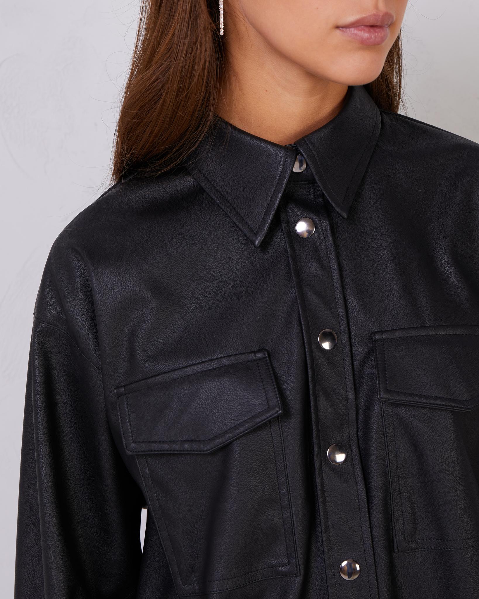 Рубашка из кожи с карманами (one size)  (черный)