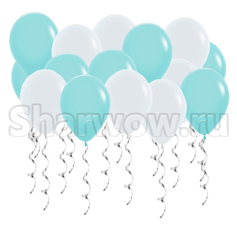 Воздушные шары под потолок с гелием Белый и бирюзовый