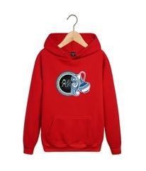 Толстовка красная с капюшоном (худи, кенгуру) и принтом Знаки Зодиака, Водолей (Гороскоп, horoscope) 001