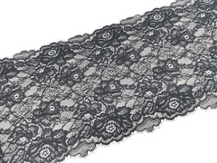 Эластичное кружево, с ресничками, ОПТ, черное, 23,5 см, (Арт: EK-2019), м