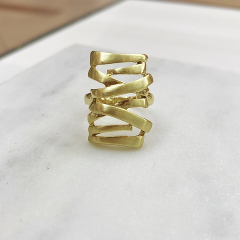 Кольцо прямоугольное сатиновое (золотистый) Vi