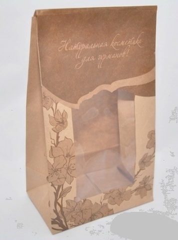 NATURAL COSMETICS Пакет ПОДАРОЧНЫЙ бумажный/ крафт, с окошком, 265*160*100 см