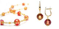 Комплект Примавера золотисто-розовый (серьги на серебре, ожерелье)