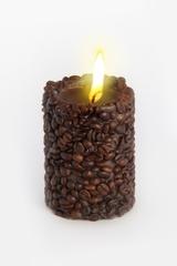 Свеча-эко ручной работы COFFEE с зернами и ароматом кофе, d 8 h 10 см/ круглая