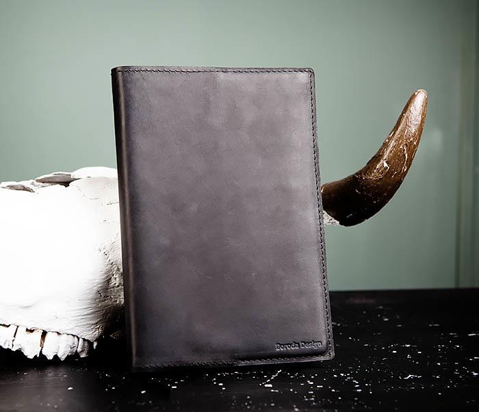 BC135-1 Кожаный блокнот ручной работы черного цвета (А5)