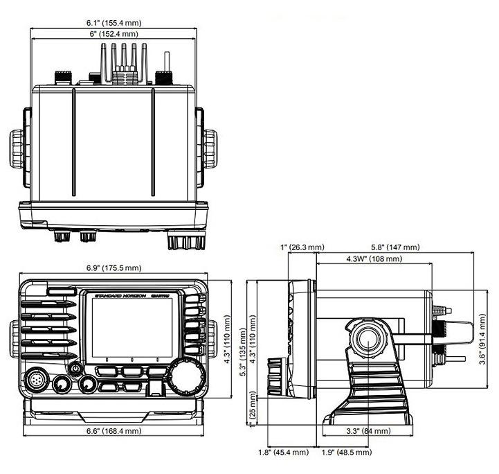 GX6000E QUANTUM VHF mobile radio Standard Horizon