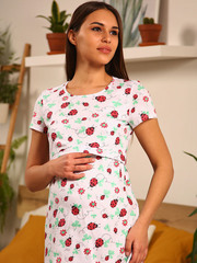Мамаландия. Сорочка для беременных и кормящих с горизонтальным секретом, божьи коровки
