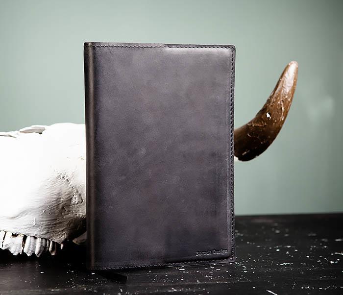 BC135-1 Кожаный блокнот ручной работы черного цвета (А5) фото 02