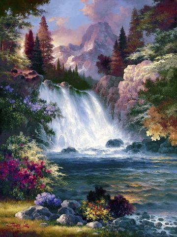 Алмазная Мозаика 40x50 Водопад в горах