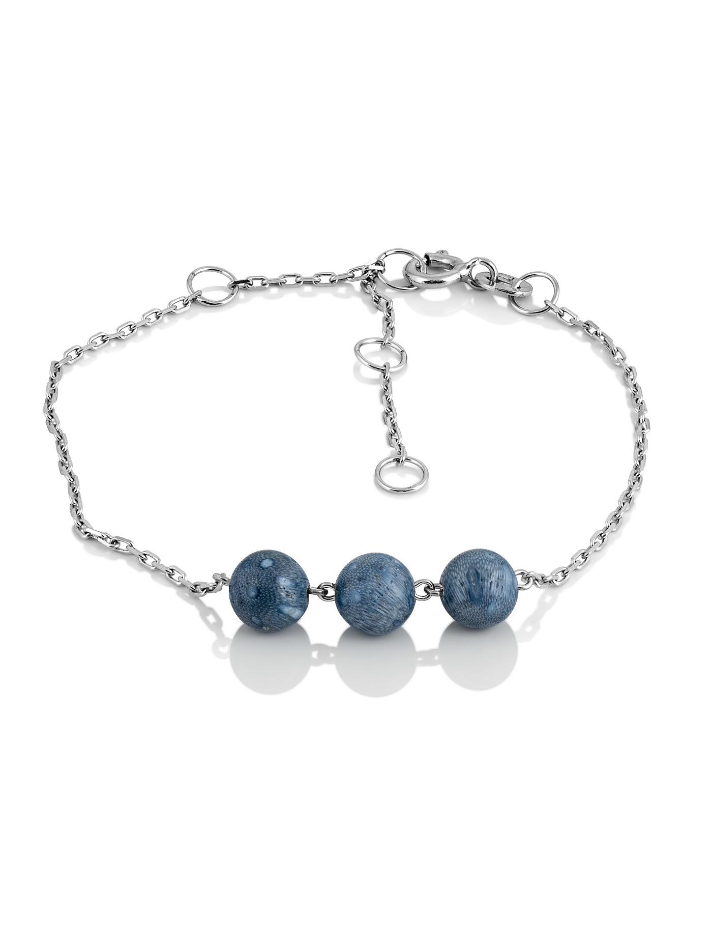 Серебряный браслет с голубым кораллом
