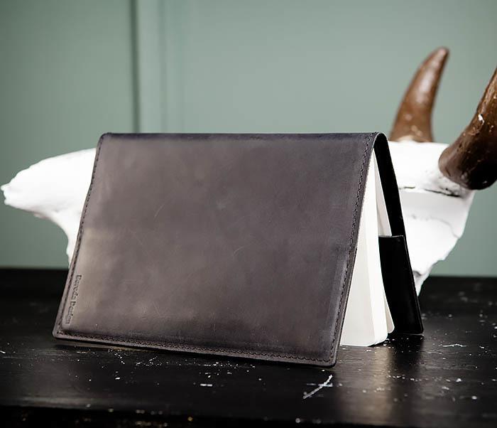 BC135-1 Кожаный блокнот ручной работы черного цвета (А5) фото 03