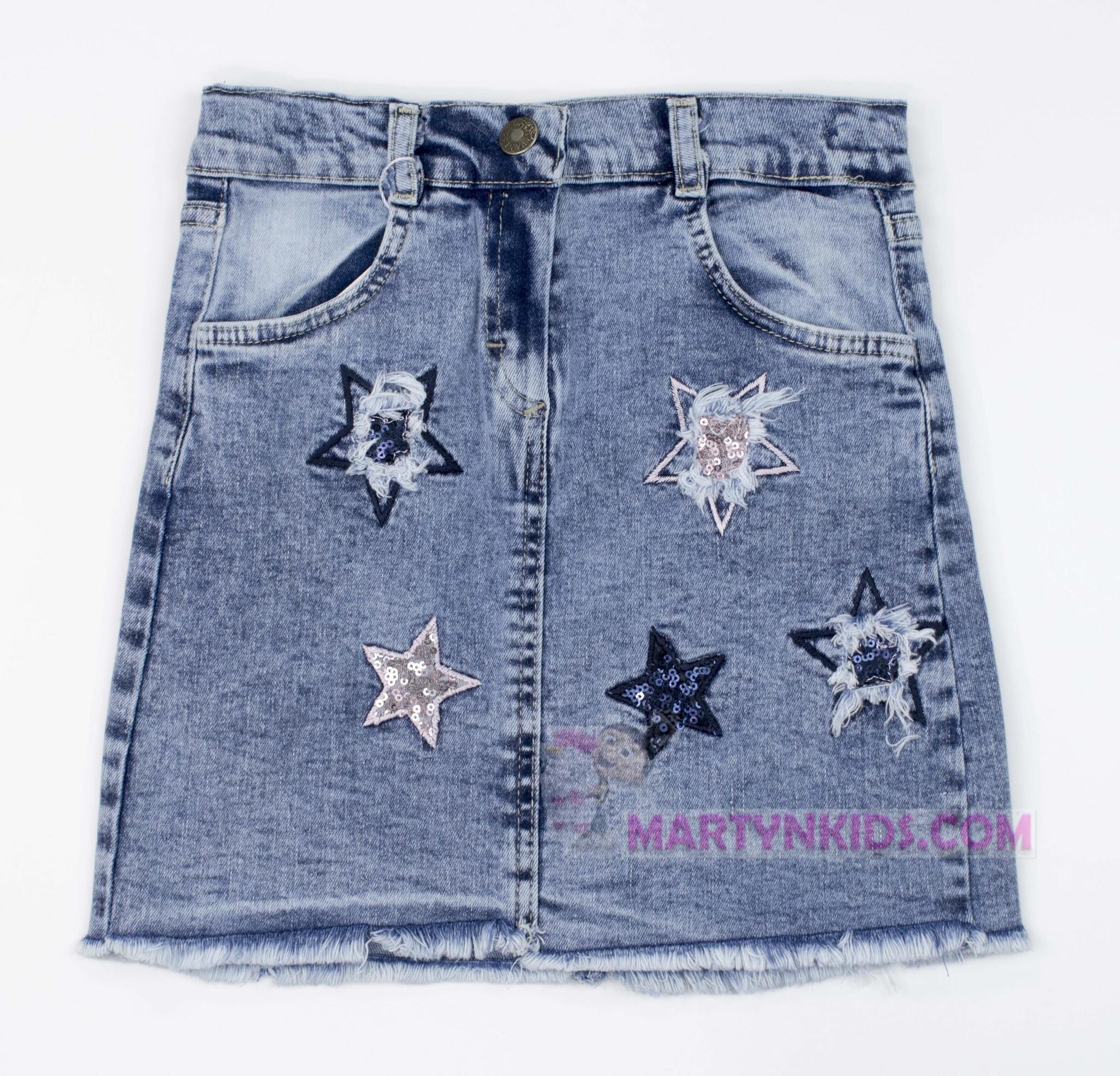 3249 юбка джинс Звездочки