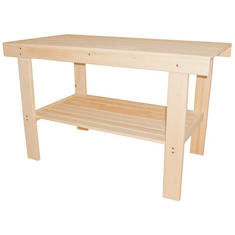 Стол с полкой разборный 140х73х63 см, шлифованный
