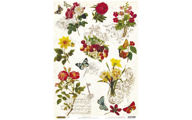 Рисовая бумага для декупажа Бабочки-цветочки, А3