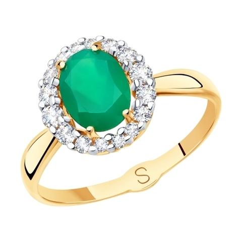 715400 - Кольцо из золота с агатом и фианитами