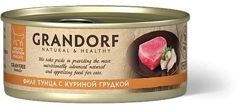 Купить консервы для кошек Грандорф с тунцом и куриной грудкой