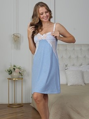 Vivamama. Сорочка для кормящих Olivia, голубой меланж вид 3