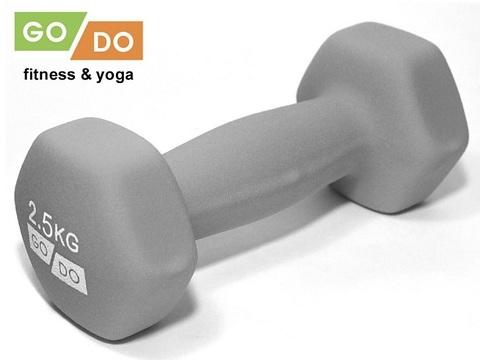 Гантель GO DO в виниловой матовой (неопреновой) оболочке.  Вес 2,5 кг. (Серый), шт (Спр) (к 36520)