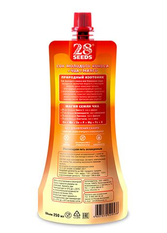 Сок молодого кокоса + Семена Чиа + Манго, без сахара, 250 г