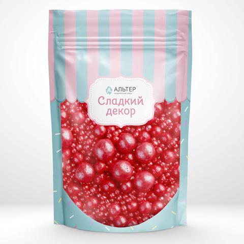 Воздушный рис жемчуг Альтер в шоколадной глазури Красный, 100 гр