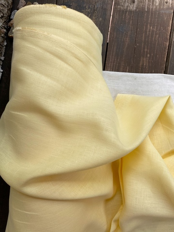 Лен костюмный 100%, Желтый разбеленный