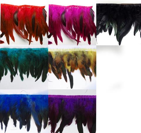 Тесьма  из перьев петуха h-15-18 см,( выбрать цвет)