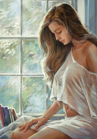 Картина раскраска по номерам 40x50 Девушка в белом