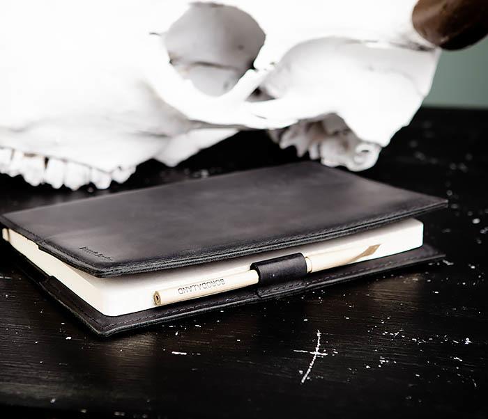BC135-1 Кожаный блокнот ручной работы черного цвета (А5) фото 05