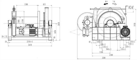 Электрическая лебедка IDJ150-400-50 для буровых установок (схема)