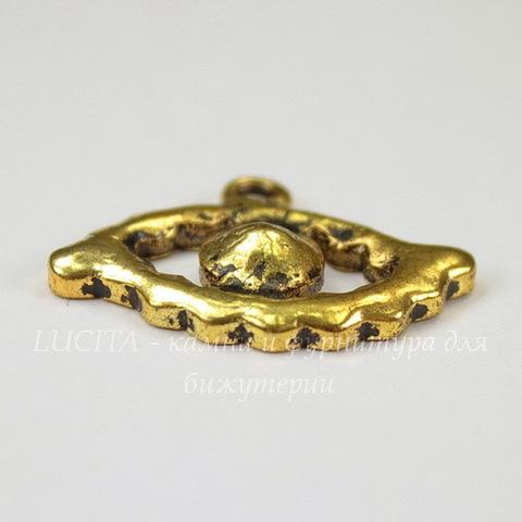 """Подвеска """"Глаз"""" (цвет - античное золото) 27х19 мм"""