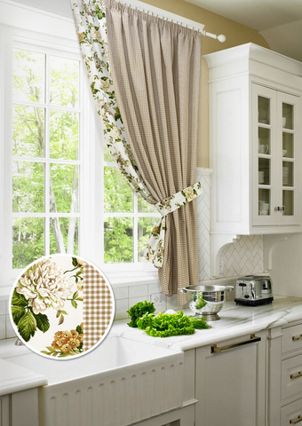 Готовая хлопковая штора для кухни с подхватом Кимберли