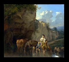 """Репродукция """"  Дюжарден, Карел - Женщина и мальчик с животными в ручье"""""""