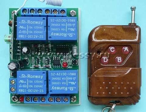 Выключатель дистанционный RC-4-12-K400С на 4 нагрузки на радиочастоте