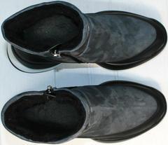 Спортивные полусапожки женские зимние Jina 7195 Leather Black-Gray