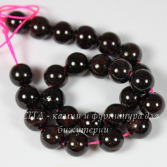 Бусина Гранат, шарик, цвет - бордовый, 8 мм, нить