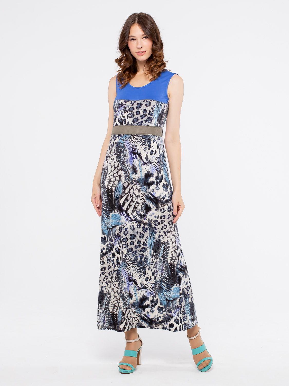 Платье З084-205 - Трикотажное платье длины макси. Вставка из однотонной ткани в районе талии стройнит фигуру. Стильная и комфортная модель на каждый день.