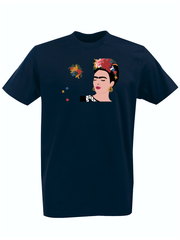 Футболка с принтом Фрида Кало (Frida Kahlo) темно-синяя 002