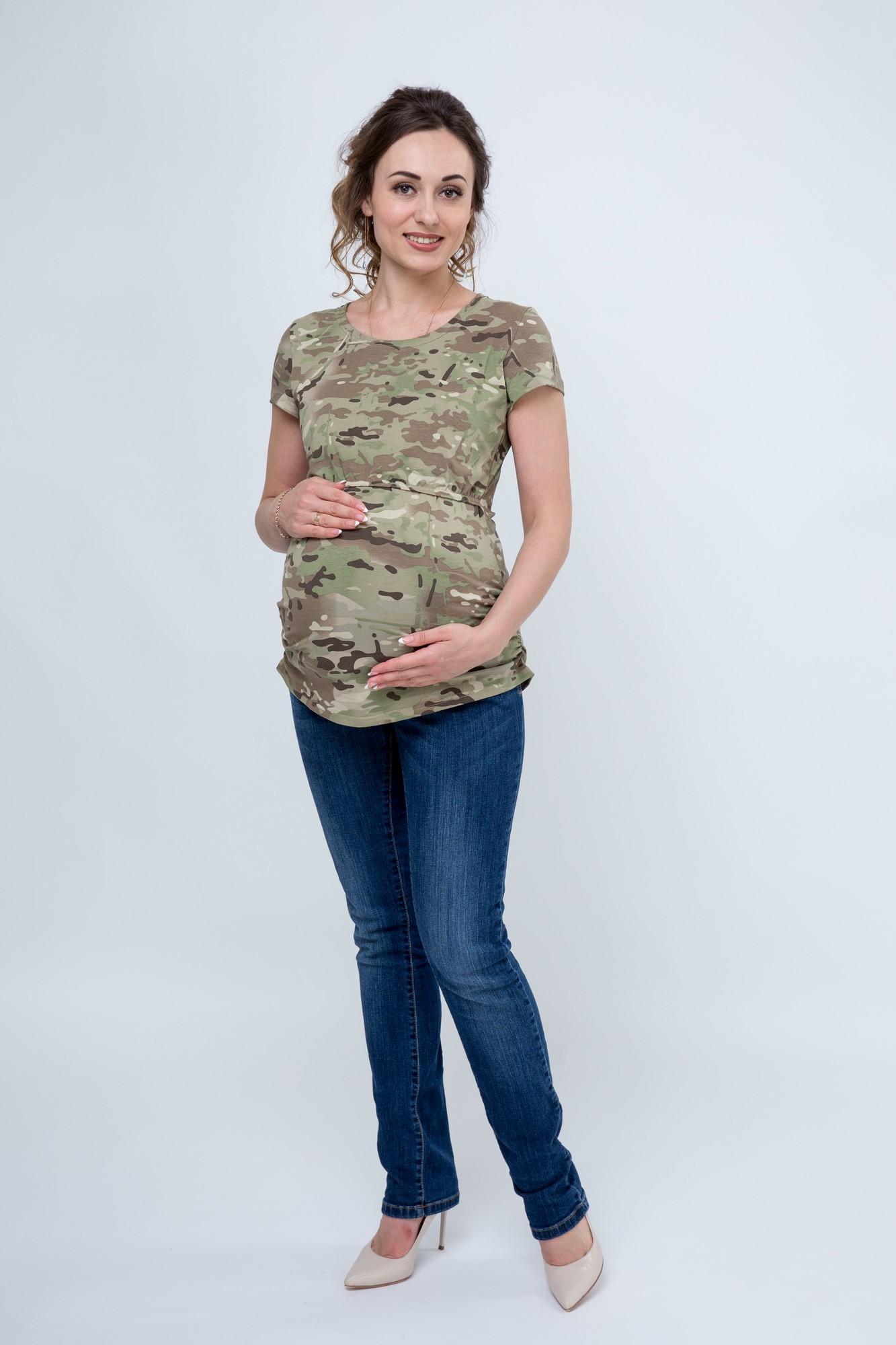 Футболка для беременных и кормящих 09561 камуфляж