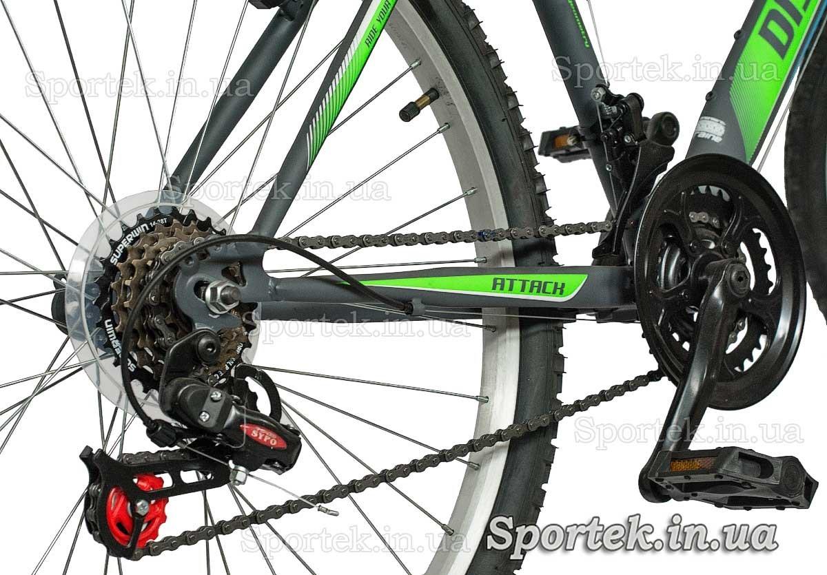 Трансмісія міського чоловічого велосипеда Діскавері Атак 2016