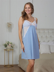 Vivamama. Сорочка для кормящих Olivia, голубой меланж вид 2