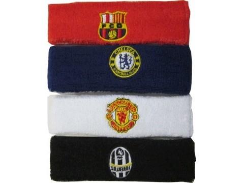 Повязка на голову с логотипами клубов: Inter, Juventus, Chelsea, Arsenal, Manchester United. Материал: махровая ткань.