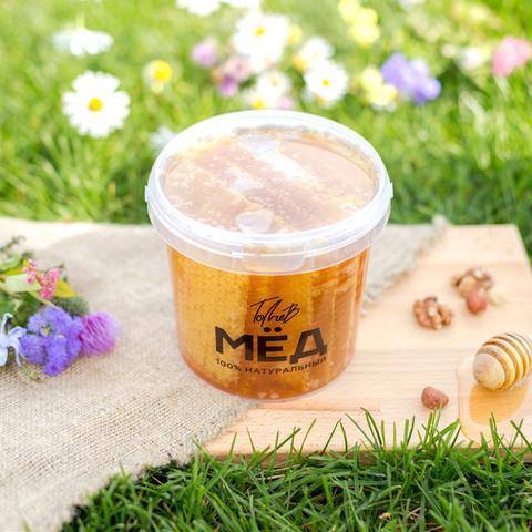 Соты с мёдом 2021 Ивановка в литровом ведерке (1,35 кг)