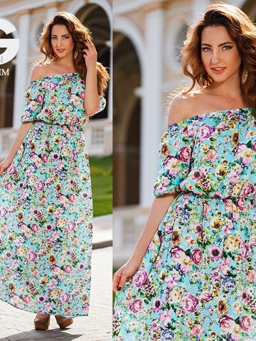 Длинное летнее платье с цветочным принтом