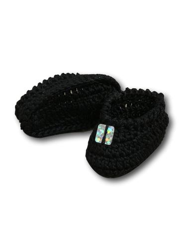 Вязаные туфли - Черный. Одежда для кукол, пупсов и мягких игрушек.