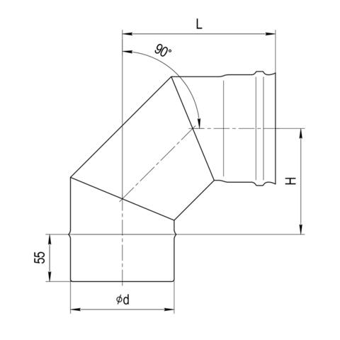 Колено 90° (3 секции)