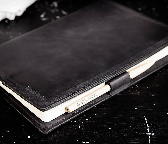 BC135-1 Кожаный блокнот ручной работы черного цвета (А5) фото 06
