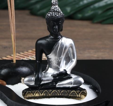Сад Дзен Будда инь-ян, песок белый + аромапалочка , 22 см