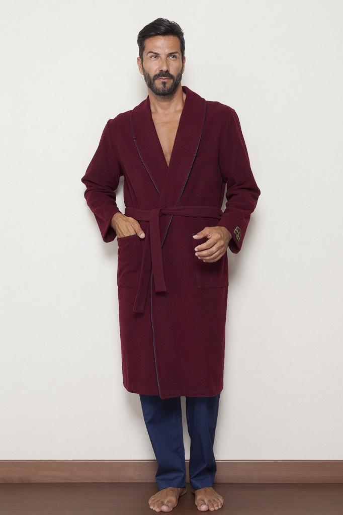 Бордовый шерстяной халат с кашемиром B&B