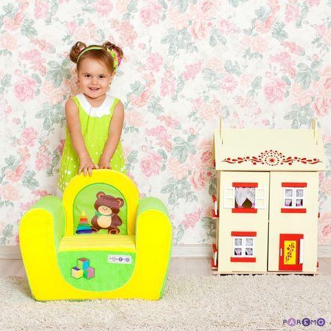 """Детское кресло """"Медвежонок"""", цв. Желтый+Салатовый"""